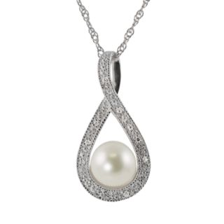 Sterling Silver Freshwater Cultured Pearl & Diamond Accent Teardrop Pendant