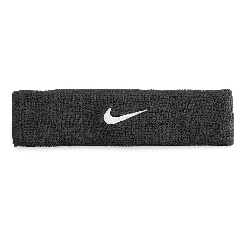 Nike Swoosh Headband - Unisex, Grey The Nike swoosh headband is designed to absorb sweat so you can always see the finish line. Embroidered signature swoosh logo Stretchy construction for a comfortable fit. FABRIC & CARE Cotton/nylon/polyester/rubber Machine wash Imported Size: One Size. Color: Charcoal. Gender: male. Age Group: adult.