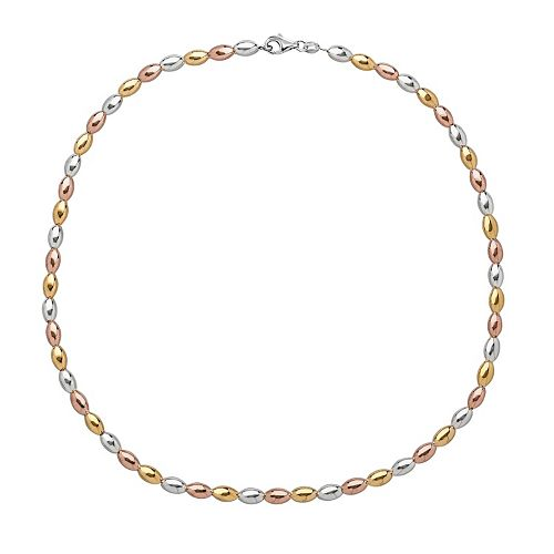14k Gold Over Silver & Sterling Silver Tri-Tone Bead Necklace
