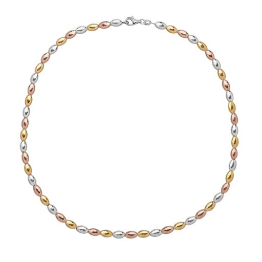 14k Gold Over Silver and Sterling Silver Tri-Tone Bead Necklace