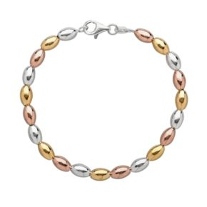14k Gold Over Silver and Sterling Silver Tri-Tone Bead Bracelet