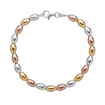 14k Gold Over Silver & Sterling Silver Tri-Tone Bead Bracelet