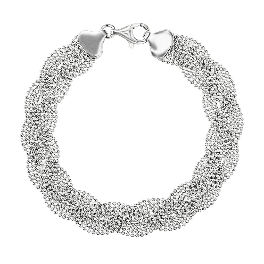 Sterling Silver Bead Braided Bracelet