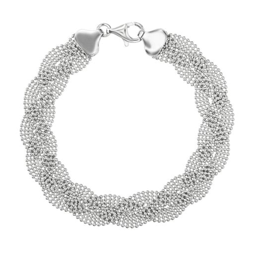 Sterling Silver Bead Braided Bracelet