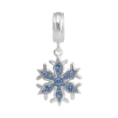 Disney Frozen Crystal Sterling Silver Snowflake Charm