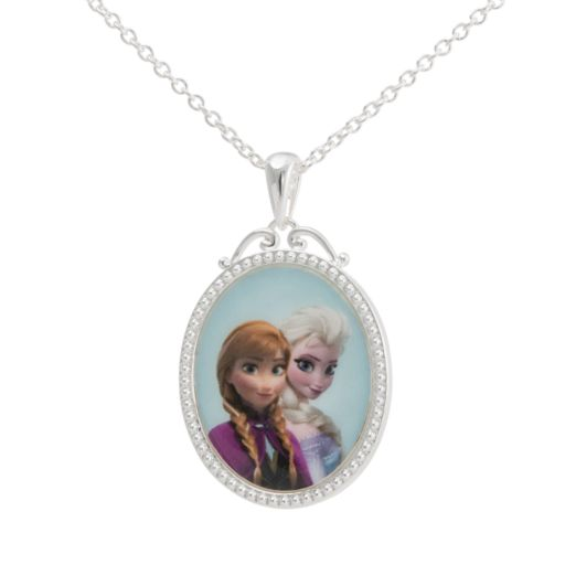 Disney Frozen Silver-Plated Anna and Elsa Pendant Necklace
