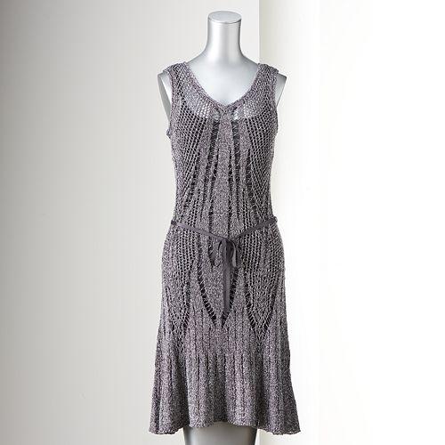 2ecdfa22e6c Simply Vera Vera Wang Open-Work Sweater Dress - Women s