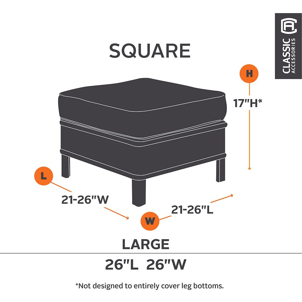 Classic Accessories Ravenna Square Ottoman Cover - Outdoor