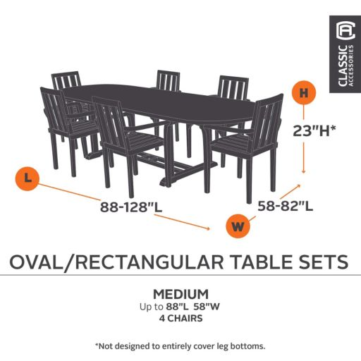 Classic Accessories Ravenna 90-in. Patio Table and Chair Set Cover  - Outdoor