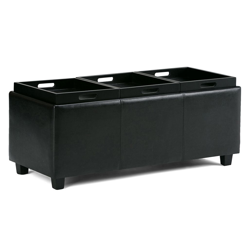 Simpli Home Avalon Storage Ottoman with Serving Trays