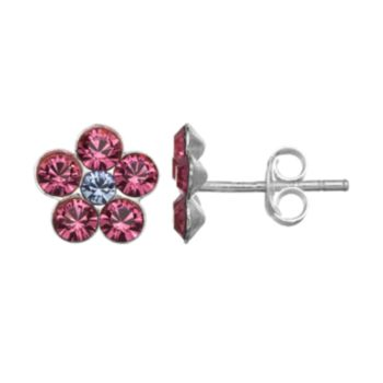 Charming Girl Sterling Silver Crystal Flower Stud Earrings - Made with Swarovski Crystals - Kids