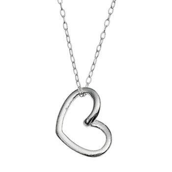 Charming girl sterling silver heart pendant necklace kids mozeypictures Gallery
