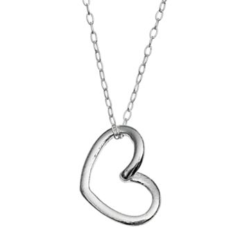 Charming Girl Sterling Silver Heart Pendant Necklace - Kids