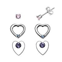 Charming Girl Sterling Silver Pink Cubic Zirconia & Crystal Heart Stud Earring Set - Made with Swarovski Crystals - Kids