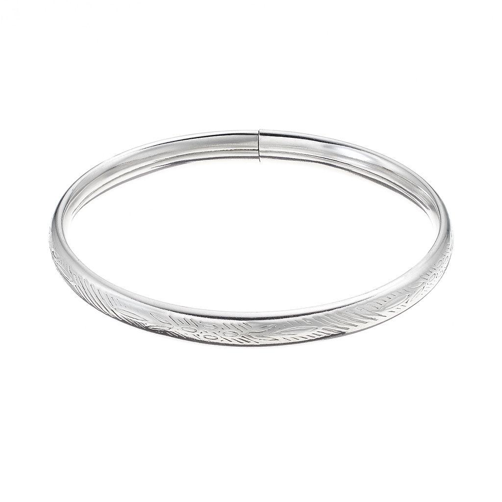Charming Girl Sterling Silver Etched Bangle Bracelet - Kids