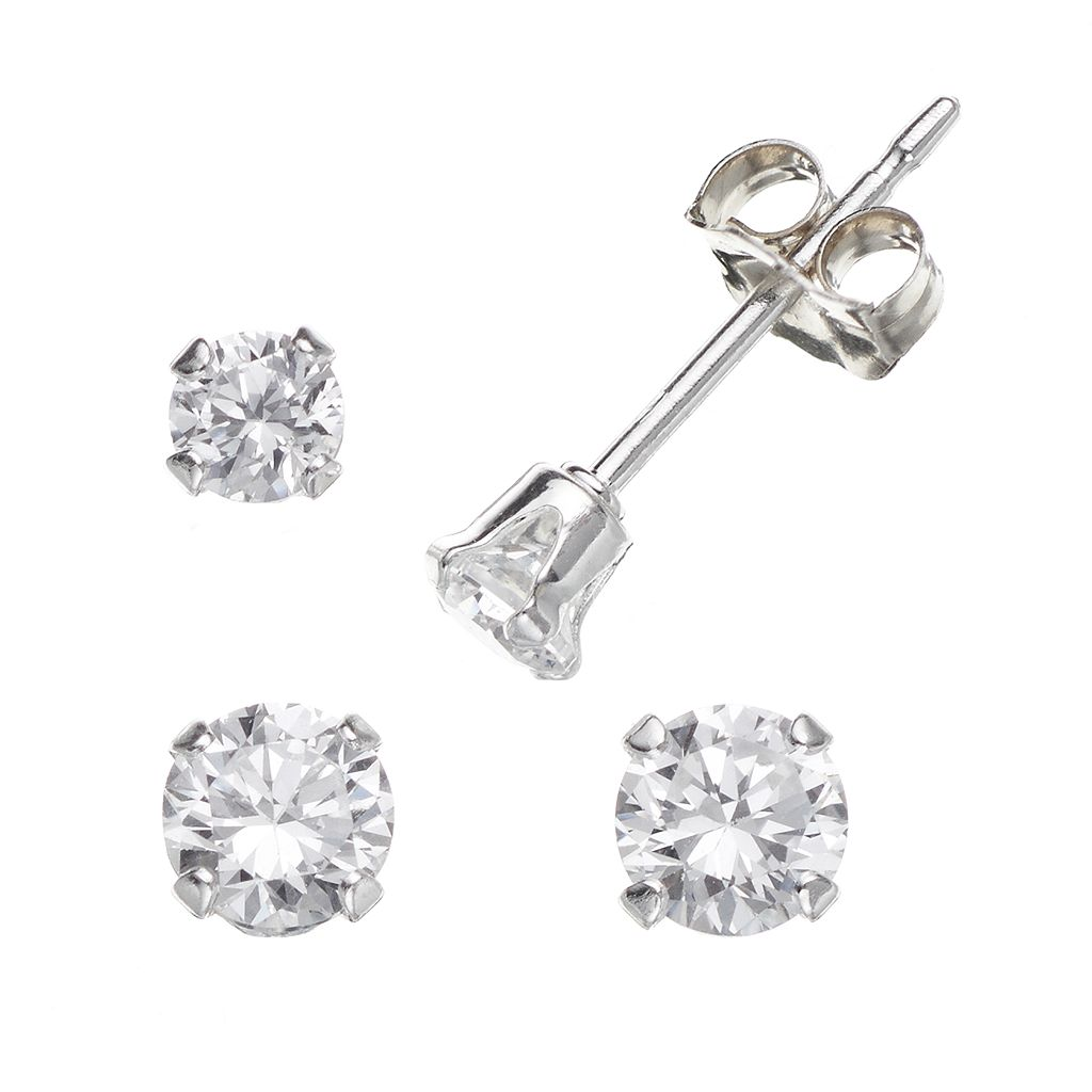Charming Girl Sterling Silver Cubic Zirconia Stud Earring Set - Made with Swarovski Zirconia - Kids
