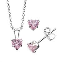 Charming Girl Sterling Silver Pink Cubic Zirconia Heart Pendant Necklace & Stud Earring Set - Made with Swarovski Zirconia - Kids