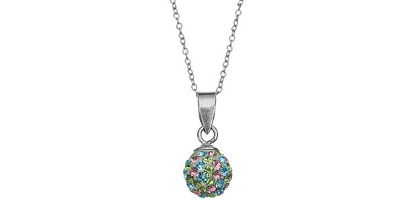 Charming Girl Sterling Silver Crystal Ball Pendant