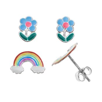 Charming Girl Sterling Silver Rainbow and Flower Stud Earring Set - Kids