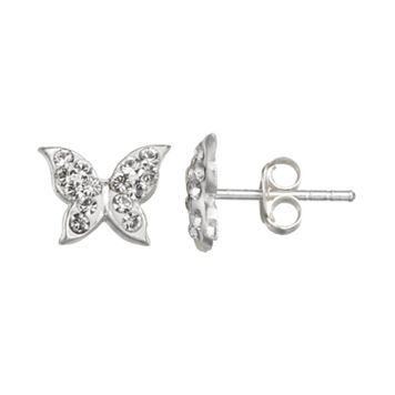 Charming Girl Sterling Silver Crystal Butterfly Stud Earrings - Made with Swarovski Crystals - Kids