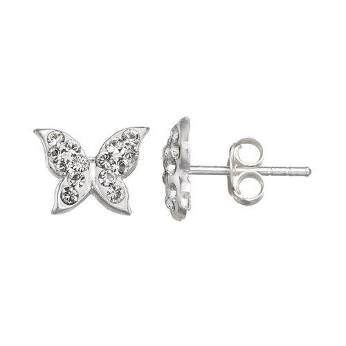 really cheap half price attractive style Charming Girl Sterling Silver Crystal Butterfly Stud Earrings ...