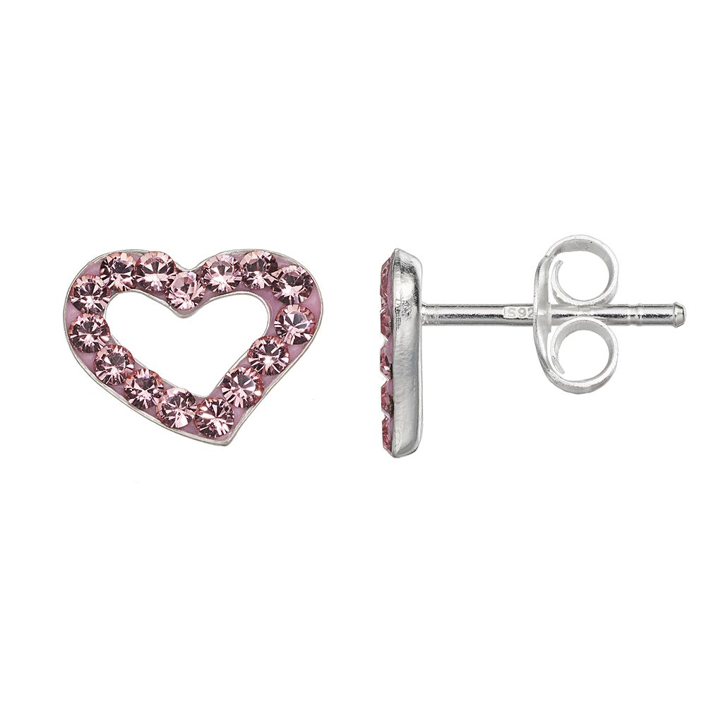 Charming Girl Sterling Silver Crystal Heart Stud Earrings - Made with Swarovski Crystals - Kids