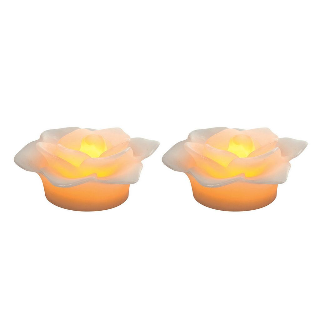 Inglow 2-piece Floral Flameless LED Floating Candle Set