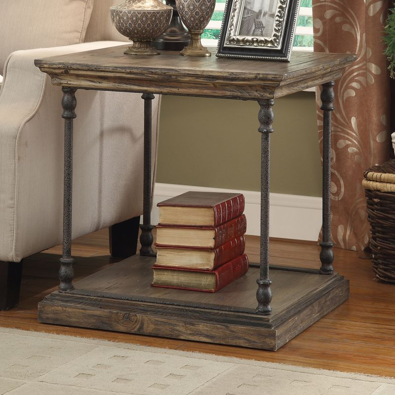 Treasure Trove Accents Distressed End Table, Grey