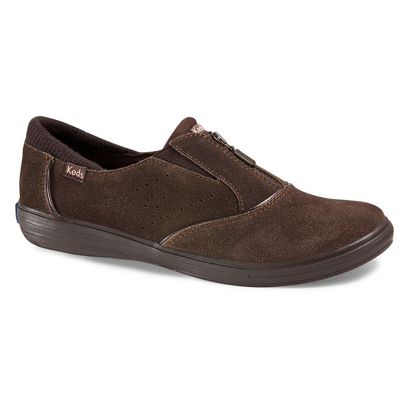 Keds Brown Pacey Zip Womens Suede Casual Slip-On Shoes
