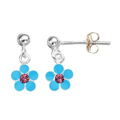 Charming Girl Sterling Silver Crystal Flower Drop Earrings - Made with Swarovski Crystals - Kids