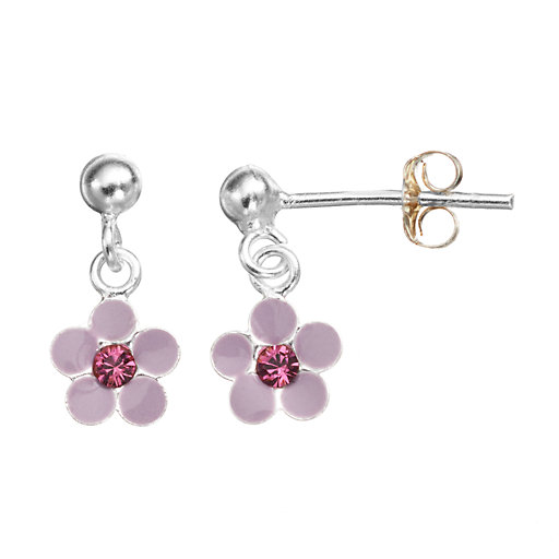 5005f40c2 Charming Girl Sterling Silver Crystal Flower Drop Earrings - Made with Swarovski  Crystals - Kids. SALE $14.00