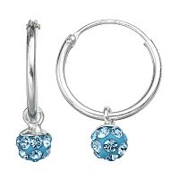Charming Girl Sterling Silver Crystal Bead Hoop Earrings - Made with Swarovski Crystals - Kids
