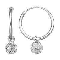 Charming Girl Sterling Silver Crystal Bead Hoop Earrings - Made with Swarovski Crystals - Kids