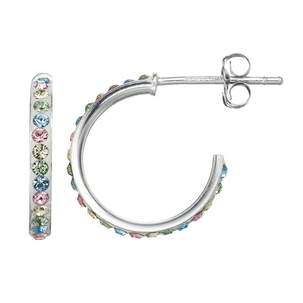 Charming Girl Sterling Silver Crystal Hoop Earrings - Made with Swarovski Crystals - Kids