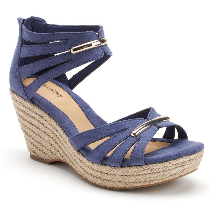 sole sense ability women s two piece espadrille platform wedge sandals