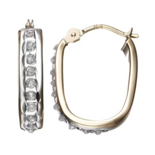Diamond Fascination 10k Gold U-Hoop Earrings