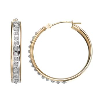 Diamond Fascination 10k Gold Hoop Earrings