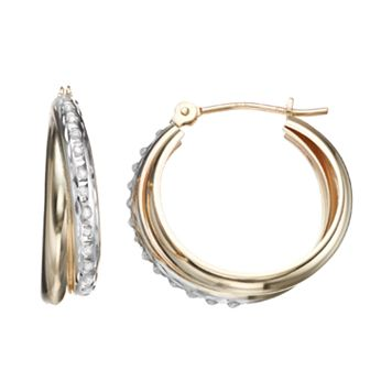 Diamond Fascination 10k Gold Interlocking Hoop Earrings