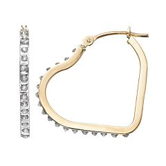 Diamond Fascination 10k Gold Heart Hoop Earrings