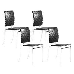 Zuo Modern Criss Cross 4 pc Dining Chair Set