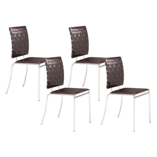 Zuo Modern Criss Cross 4-piece Dining Chair Set