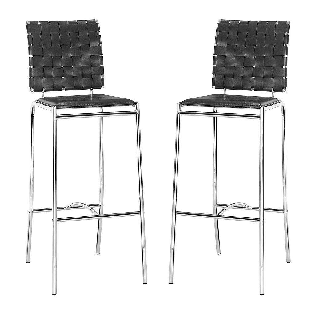 Zuo Modern Criss Cross 2-piece Bar Chair Set