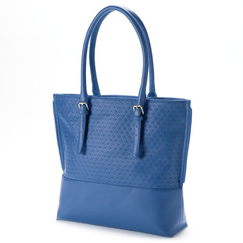 B-Collective by Buxton Gianna Leather Embossed Tote (Blue)