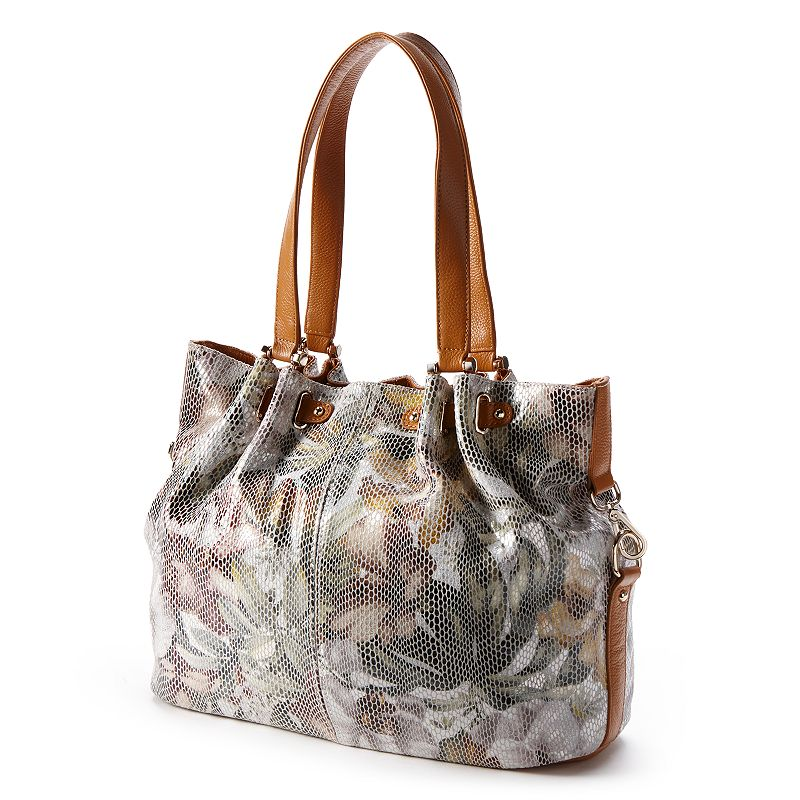 B-Collective by Buxton Leather Rosabella Snakeskin Floral Tote