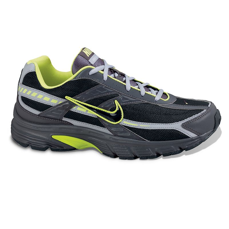 Nike Initiator Running Shoes - Men, Men's, Size: 8.5, Grey Featuring a padded footbed and a Phylon midsole,these Nike Initiator running shoes offer total comfort. Watch the product video here. Shoe Technologies: Breathable mesh upperand lining wick away moisture. Durable overlays provide support and style. BRS 1000 carbon rubber outsolefor durabletraction. Flex grooves promise a smooth stride. Shoe Construction: Manmade/mesh upper & lining Phylon midsole Rubber outsole Shoe Details: Lace-up closure Padded footbed  Size: 8.5. Color: Grey. Gender: male. Age Group: adult.
