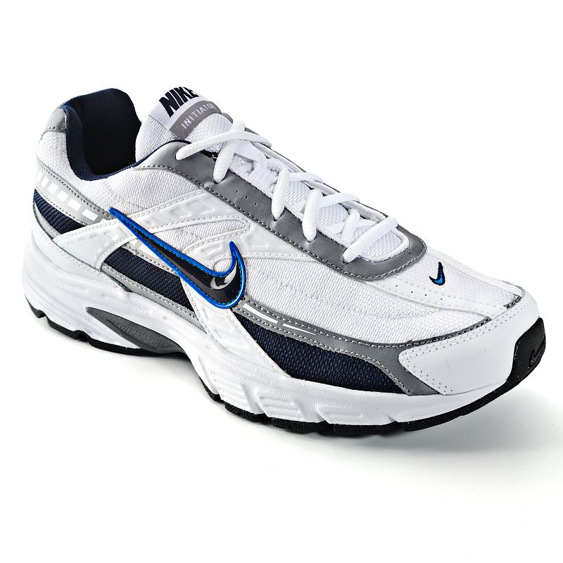 Nike Initiator Running Shoes - Men, Men's, Size: 11, White Featuring a padded footbed and a Phylon midsole,these Nike Initiator running shoes offer total comfort. Watch the product video here. Shoe Technologies: Breathable mesh upperand lining wick away moisture. Durable overlays provide support and style. BRS 1000 carbon rubber outsolefor durabletraction. Flex grooves promise a smooth stride. Shoe Construction: Manmade/mesh upper & lining Phylon midsole Rubber outsole Shoe Details: Lace-up closure Padded footbed  Size: 11. Color: White. Gender: male. Age Group: adult. Pattern: Solid. Material: Synthetic.