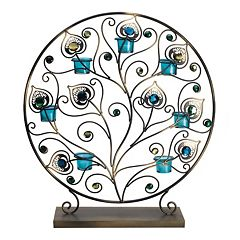 Bombay™ Peacock Tealight Metal Decor