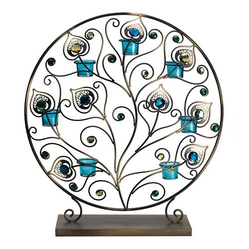 Bombay™ Peacock Tealight Metal Decor