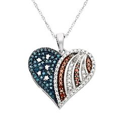 Sterling Silver 1/3 ctT. W. Red, White & Blue American Flag Diamond Heart Pendant