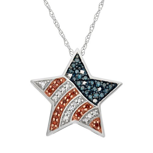 Sterling Silver 1/4-ct. T. W. Red, White & Blue American Flag Diamond Star Pendant